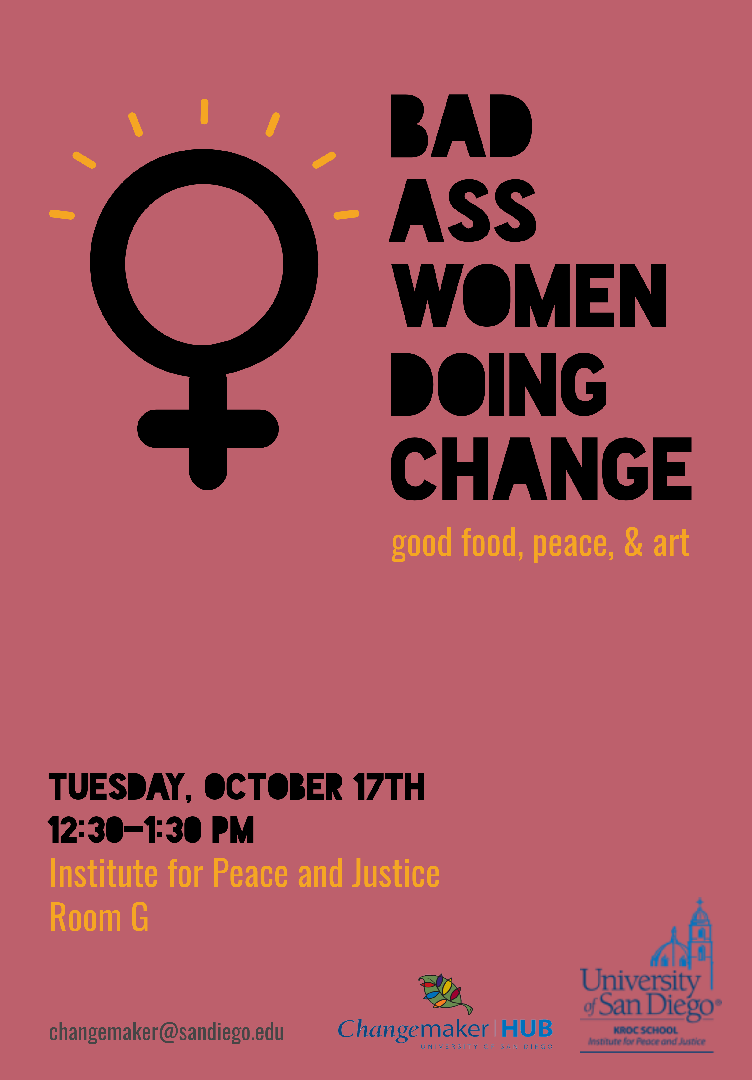 poster for event featuring a female gender icon