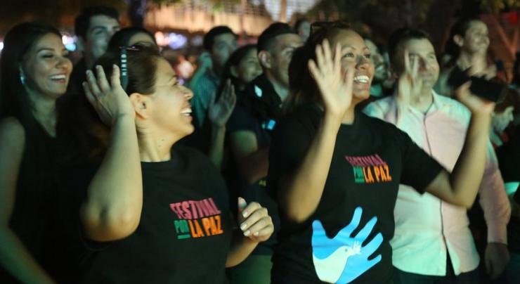 MA in Social Innovation students Jessica Aparicio and Bianca Alvarado celebrate at the Peace Festival.