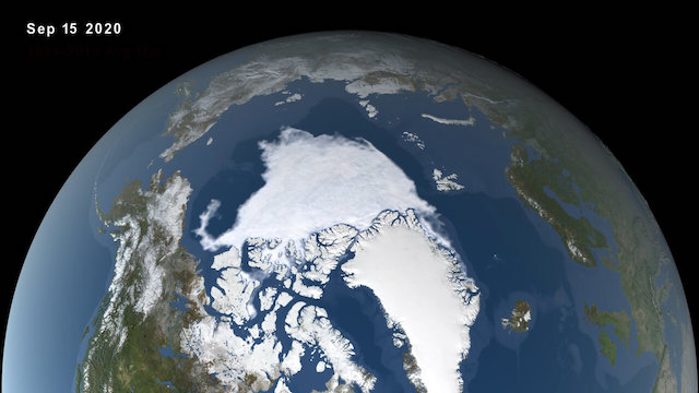 View of the North Pole from space
