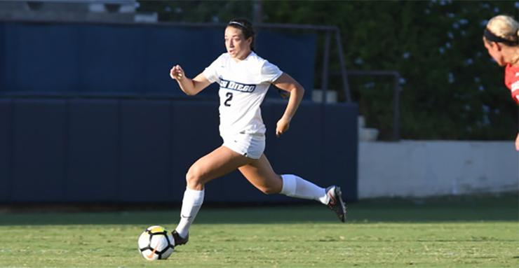 Summer Mason, a junior forward on the USD women's soccer team, scored three goals in the Toreros' 3-1 WCC win over Pacific on Oct. 7. Mason was named WCC Player of the Week.
